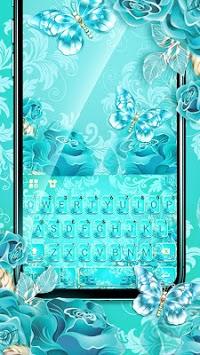 Blue Rose Butterfly Keyboard Theme APK screenshot 1