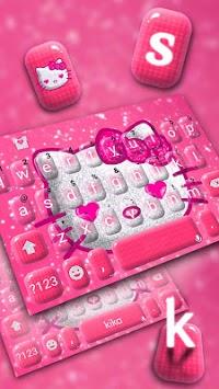 Hot Pink Kittie Hello Keyboard APK screenshot 1