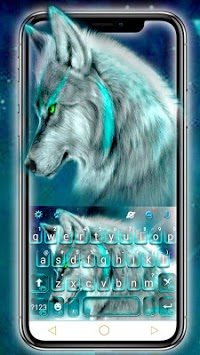 Cyan Neon Wolf Keyboard Theme APK screenshot 1