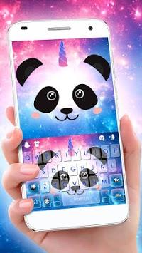 Galaxy Unicorn Panda Keyboard Theme APK screenshot 1