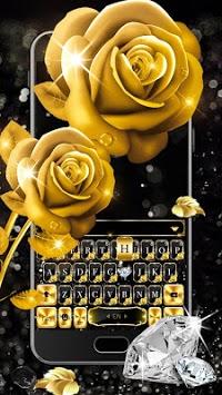 Gold Rose Lux Keyboard Theme APK screenshot 1