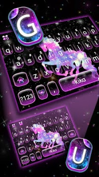Night Galaxy Unicorn Keyboard Theme APK screenshot 1
