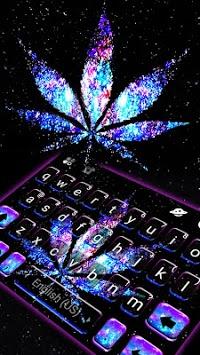 Shiny Galaxy Weed Keyboard Theme APK screenshot 1