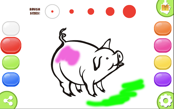 No internet Coloring game Paint Brush Pig Painbox APK screenshot 1