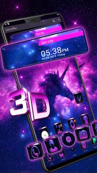 Galaxy Unicorn Glass Tech Theme APK screenshot 1