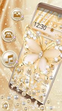 3D Golden Pearl Flower Gravity Theme APK screenshot 1