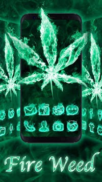 Neon Fire Weed Skull Themes HD Wallpapers 3D icons APK screenshot 1