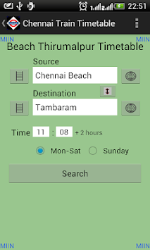 Chennai Local Train Timetable APK screenshot 1