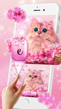 Cute Pink Kitty Love Keyboard Theme APK screenshot 1