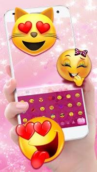 Cute Pink Kitty Love Keyboard Theme APK screenshot 1