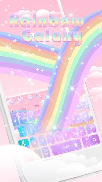 Glossy Galaxy Rainbow Keyboard Theme APK screenshot 1