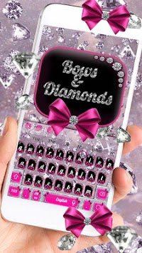 Diamond Bowknot Glitter Keyboard Theme APK screenshot 1