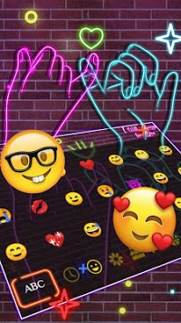 Neon Pink Sparkling Keyboard Theme APK screenshot 1