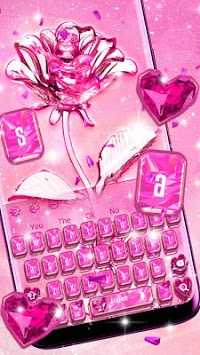 Crystal Glitter Love Rose Keyboard APK screenshot 1