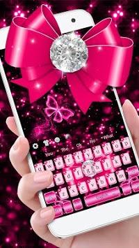 Luxury Diamond Pink Bow Keyboard Theme APK screenshot 1