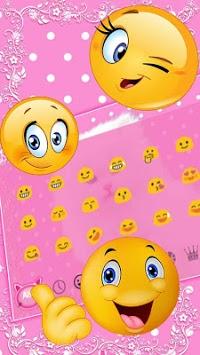 Cute Pink Kitty Keyboard Theme APK screenshot 1