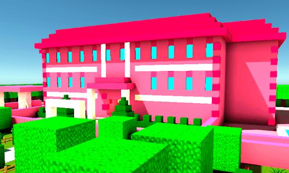 Pink Princess House Craft Game APK screenshot 1
