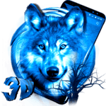 3D Ice Wolf Theme FOR PC